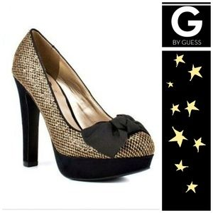 G by Guess Gold Shimmer/Black Pumps
